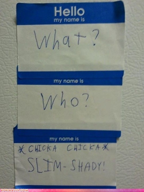 I think I should do this the next time I have to wear a nametag. All my 90's friends would get it. :)