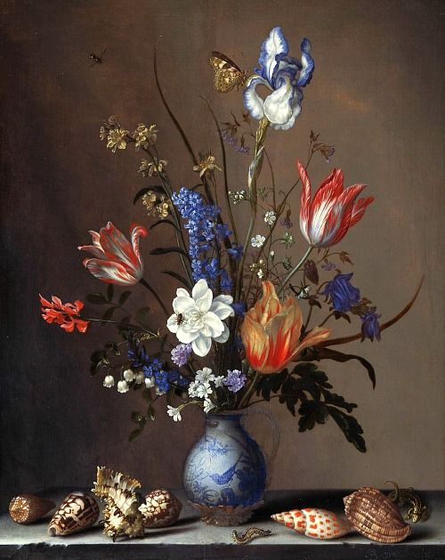 Balthasar van der Ast Still Life with Flowers and Shells 1640 Via: StilllifeQuickheart