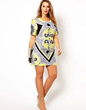 ASOS CURVE Mini Dress In Blocked Scarf Print