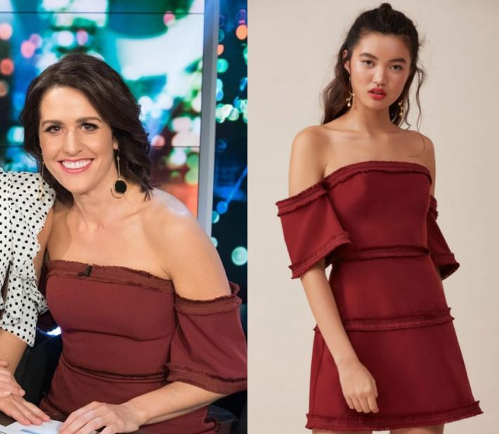by Kirsty0 Comments Rachel Corbett wears this red off shoulder mini dress in this episode of The Project on Wednesday the 18th of October 2017. It is the Finders Keepers Visions Mini Dress