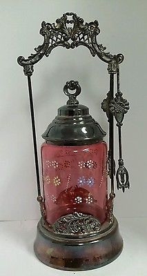 Victorian-Silverplate-Cranberry-Enamel-Floral-Glass-Pickle-Castor-w-Tongs