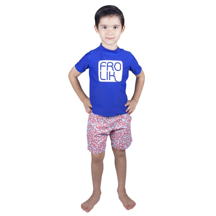 Frolik Rash Vest with Coral Swim Shorts. Available at www.frolikbeachstyle.com in sizes 2-3, 4-5, 6-7 and 8-9yrs.