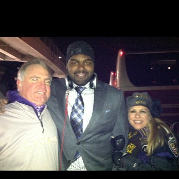 Michael Oher and his parents after the amazing Baltimore vs. Denver game.