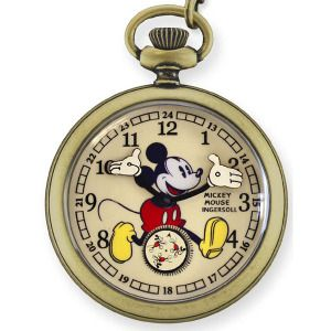 ☆【送料無料】ミッキーマウス完全復刻メモリアルコレクション手巻き式懐中時計アンティークゴールドIPMICKEYMOUSE30'SCOLLECTIONインガソールIngersollメンズレディース25835
