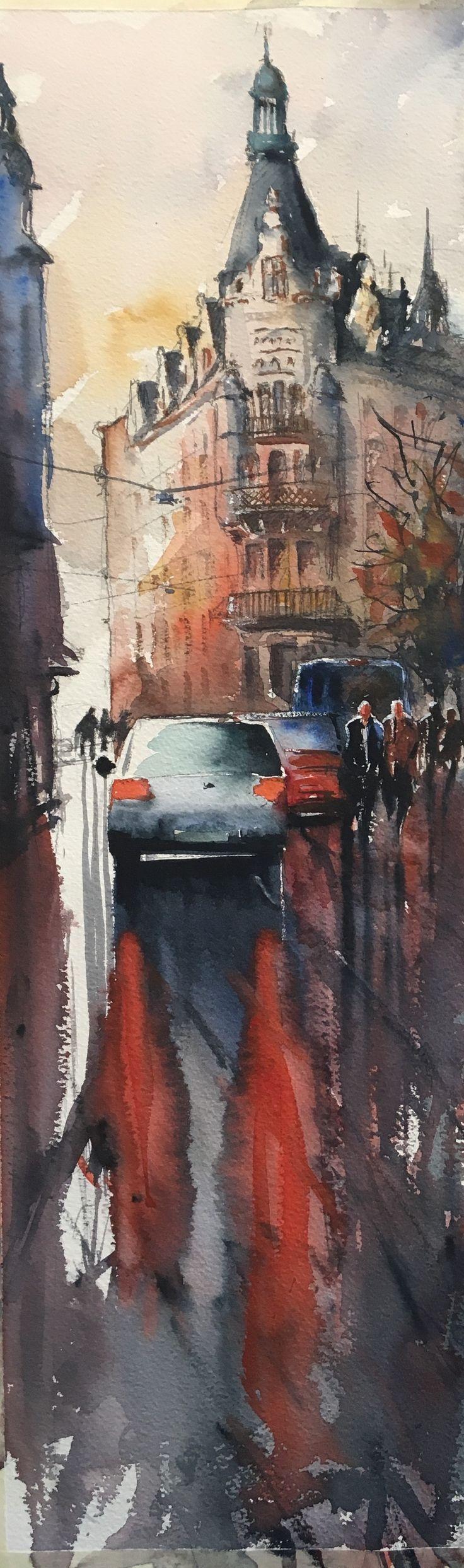 After the rain, watercolor, Stefan Gadnell