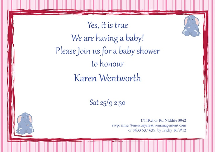 New baby shower invitations Pink Stripes A5. we can completely personalise your invitations