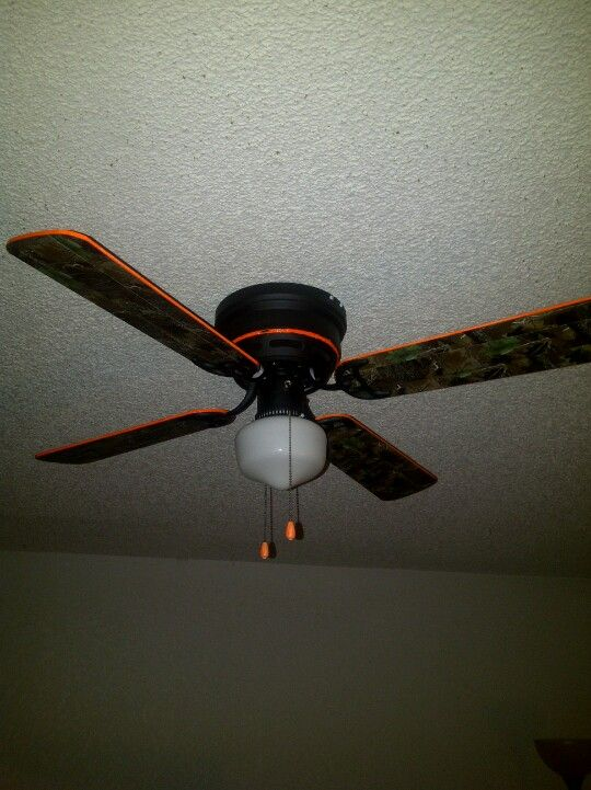 Redid my ceiling fan....covered the blades in camo duct tape and painted edges with neon orange paint and spray painted the base with flat black