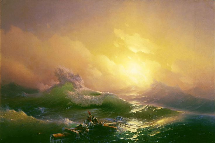 Ivan Konstantinovich Aivazovsky. The Ninth Wave, Original Size: 221 x 332 cm, Date: 1850, Location: St. Petersburg, Russian Museum. Buy this painting as premium quality canvas art print from Modarty Art Gallery. #art, #canvas, #design, #painting, #print, #poster, #decoration