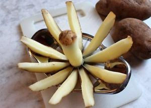 Use an apple corer/slicer to cut potatoes. Perfect for steak fries and sweet potato wedges.