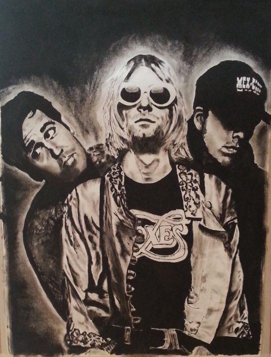 Nirvana + Dave + Grohl + Kurt + Cobain + Krist + Novoselic + H.P-Art + Harm + Pelle + Eibergen + Dry Brush + Oil Paint