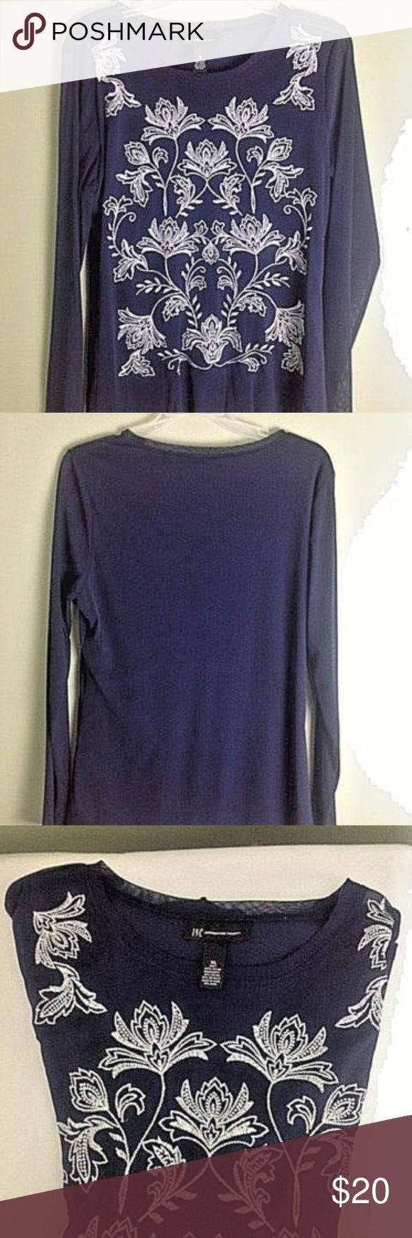I-N-C international concepts women's Top XL I-N-C international concepts women's Top. Design flowers in the front. 100% Nylon embroidery 90% Rayon and 10% Metallic. Size XL, Color Navy Blue and silver. New without tag.  Price $19.99  Free Shipping  Free Return INC International Concepts Tops