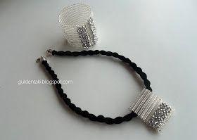 Herringbone (balık sırtı)tekniği kullanarak ürettiğim,bileklik üzerine kristaller işleyerek tamamladığım mıknatıslı mekanizmalı Trabzon Has...