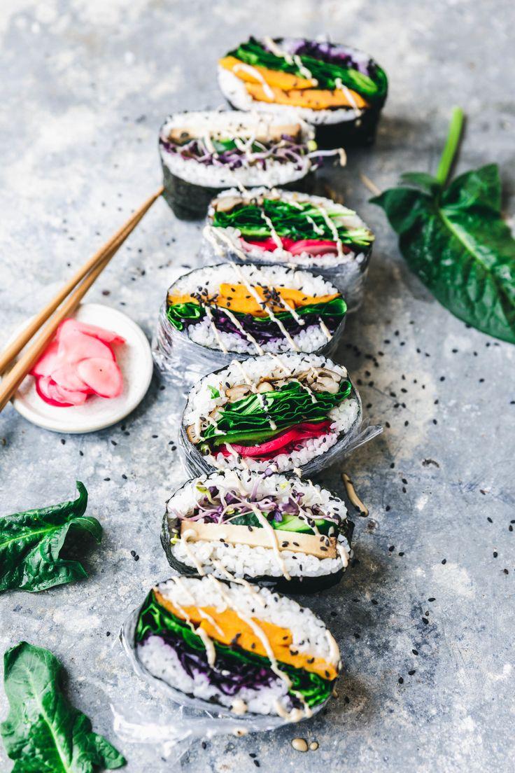 Sushi-Sandwiches - jap. Onigirazu - Süßkartoffel-Rotkraut-Spinat;Austernpilz-Radieschen; Räuchertofu-Sprossen-Gurke