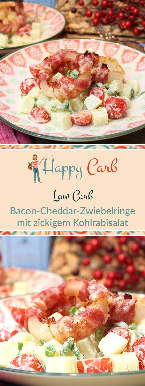 Heftig deftig sind die leckeren Zwiebelringe!  Low Carb Rezepte von Happy Carb. https://happycarb.de/rezepte/fleisch/bacon-cheddar-zwiebelringe-mit-zickigem-kohlrabisalat/