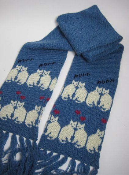 Vintage 1980s Cute Novelty Cat Print Pure New Wool Scarf available to buy online at Virtual Vintage Clothing £20