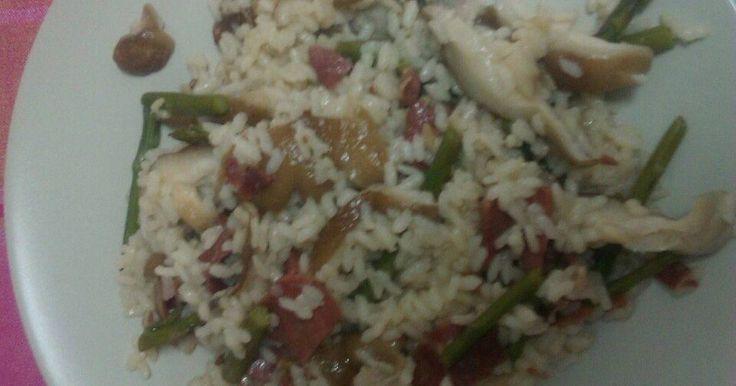 Risoto de espárragos, setas y jamón serrano Receta de begonaccp - Cookpad