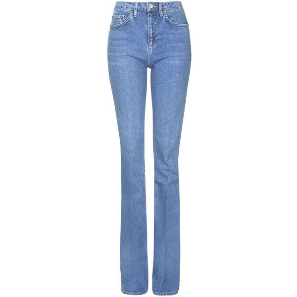 TOPSHOP TALL MOTO Tally Flare Jeans (€63) ❤ liked on Polyvore featuring jeans, mid stone, topshop jeans, blue jeans, topshop, tall jeans and flared jeans
