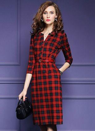 Cotton Tartan 1019185/1019185 Sleeves Knee-Length Elegant Dresses (1019185) @ floryday.com
