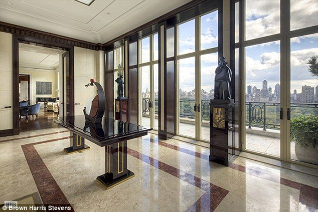 High end: The penthouse apartment boasts great views of Central Park and its own gallery. Unfortunately, it wasn't $10 m, but cost $88 million when Russian billioniare Dmitry Rybolovlev bought it.