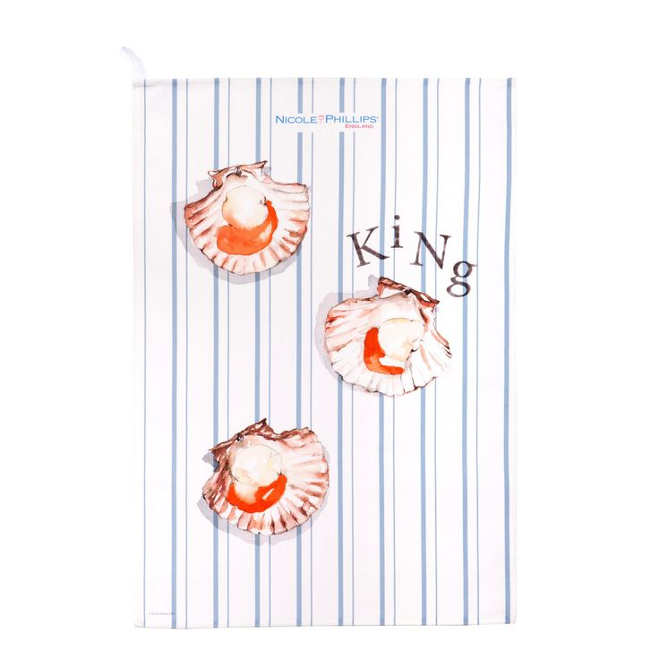 Nicole Phillips England artisan King Scallop Tea Towel. Nicole Phillips designs and makes beautiful fine textile ranges that add accents of creativity and colour for your home and kitchen. Designed and made in England to the highest print and quality standards. http://www.nicolephillips.com/collections/tea-towels/products/king-scallop-tea-towel #seafood