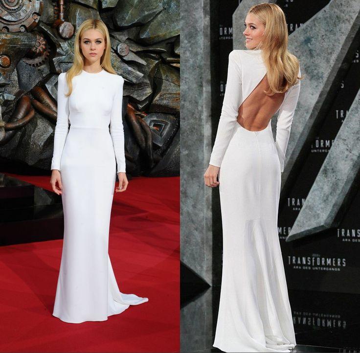 ==> [Free Shipping] Buy Best Nicola Peltz Beyonce Celebrity Dresses 2015 Long Sleeve White Open Back Evening Dress women Formal Gowns Vestidos de festa longo Online with LOWEST Price | 32551071580