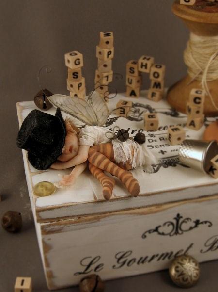 Tiny sleeping fairy… Polymer clay, just 2 inches long… by fairystudiokallies