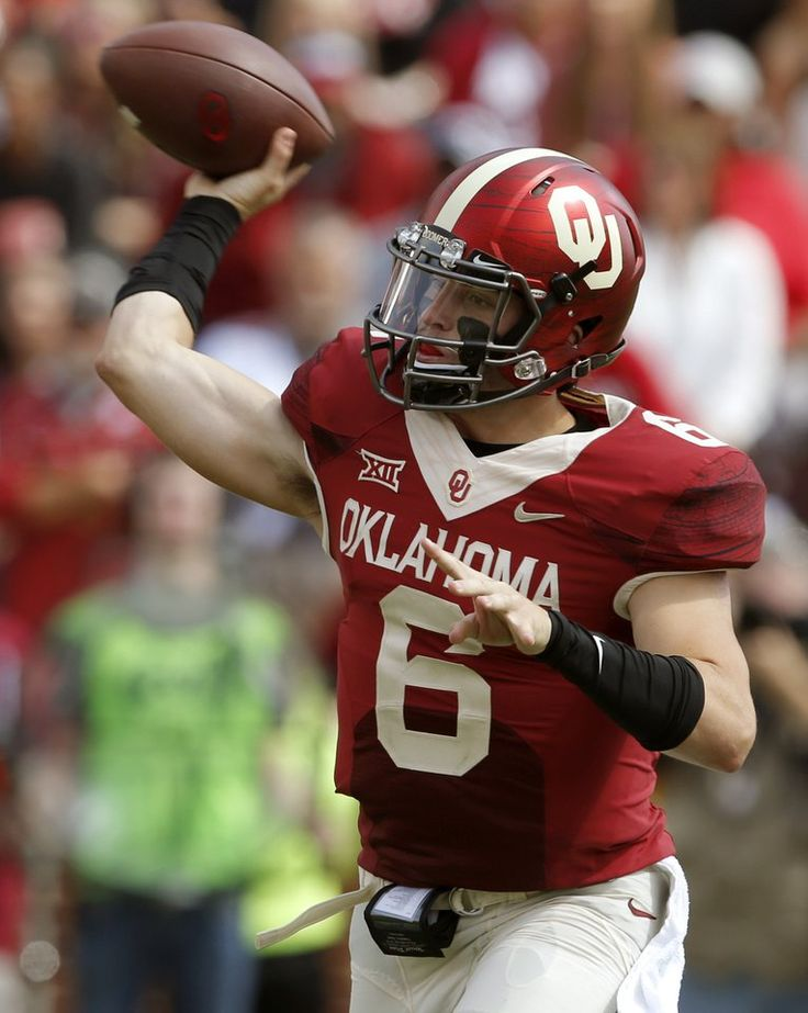 Oklahoma's Baker Mayfield (6) throws a pass during a college football game between the University of Oklahoma Sooners (OU) and the West Virginia Mountaineers (WVU) at Gaylord Family-Oklahoma Memorial Stadium in Norman, Okla., on Saturday, Oct. 3, 2015. Oklahoma won 44-24. Photo by Bryan Terry, The Oklahoman
