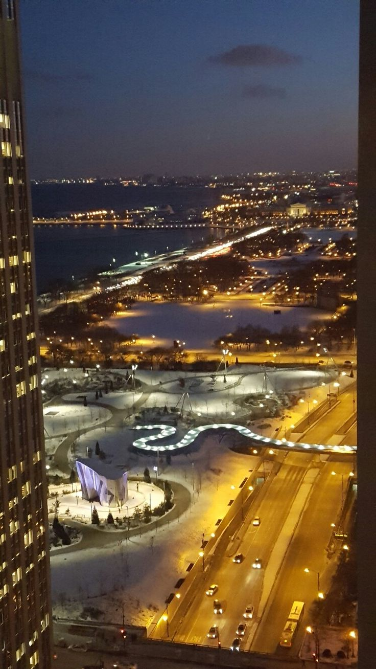 Looking at Millennium Park from 34th Floor of Fairmont Hotel. Chicago IL