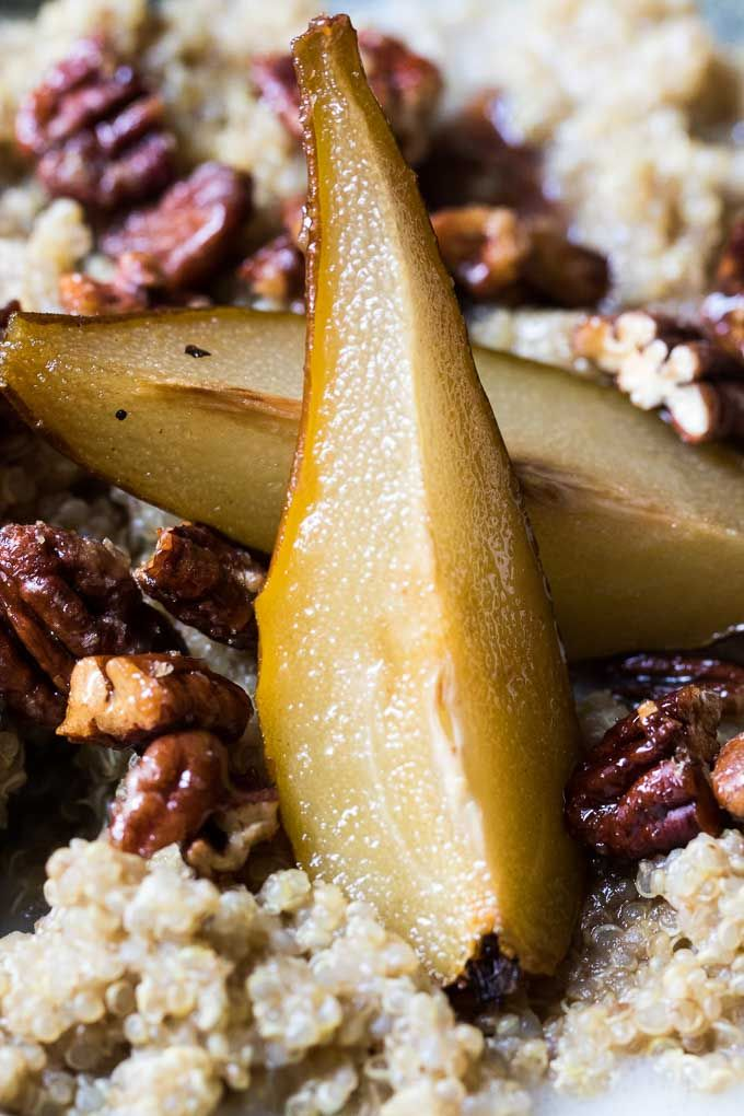 Healthy Maple Pear Quinoa Porridge |Breakfast jazzed up. This is a super simple way to add some healthy to your breakfast. Quinoa porridge, maple pears and pecans and a swirl of coconut milk. | www.wildeorchard.co.uk