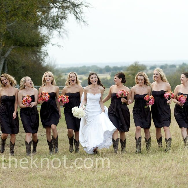 Strapless satin bridesmaid dresses with cowboy boots // Jennifer Lindberg Weddings // http://www.theknot.com/weddings/album/a-formal-rustic-wedding-in-elgin-tx-93525