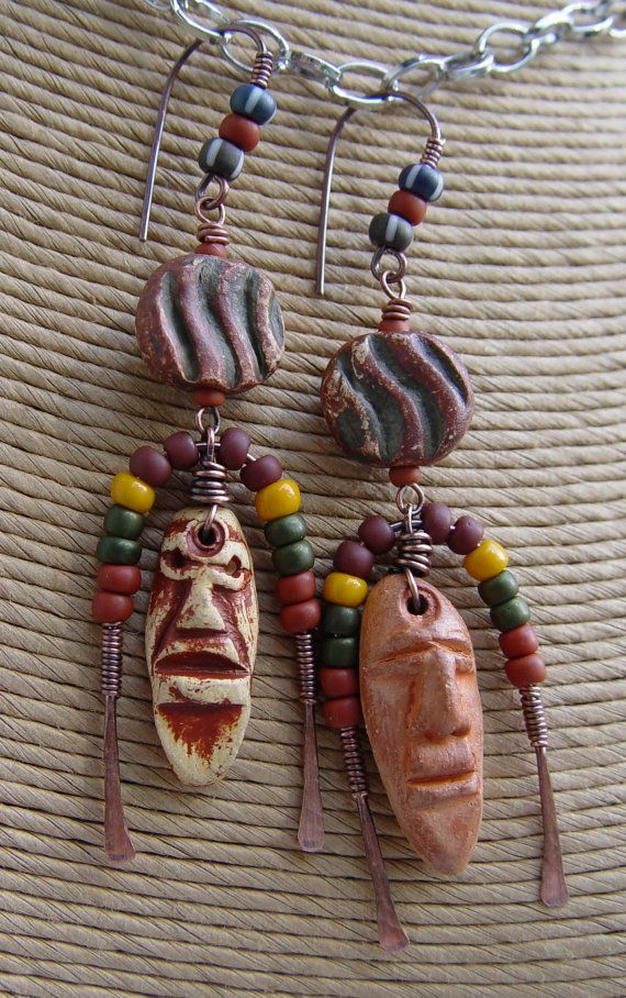 Faces  Clay Polynesian Easter Island Heads  Lampwork by jeanawells, $55.50