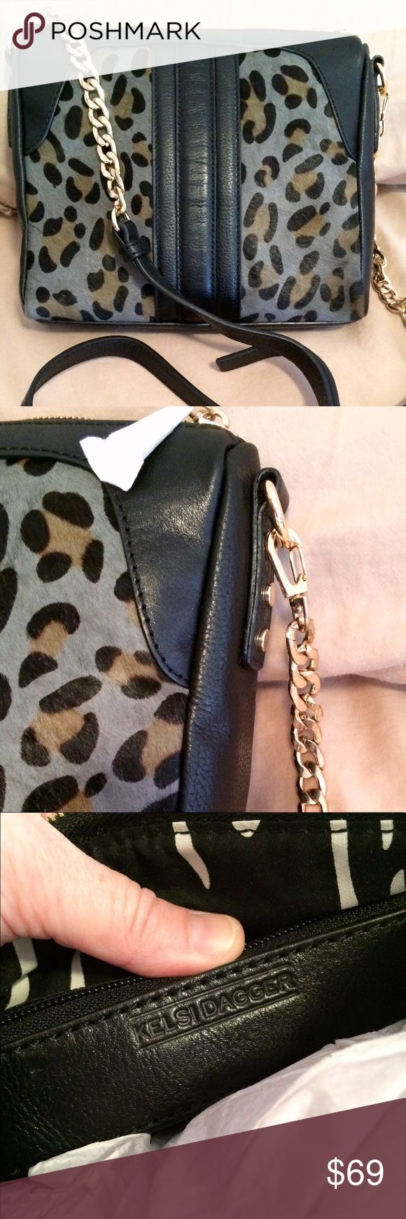 🆕Leather Calf Hair Kelsi Dagger Crossbody Supple Leather and leopard dyed calf hair bag.  Measuring approximately 9.5 wide, 8.5 tall, 2 deep.  Quality bag by Kelsi Dagger.  Great hardware.  Brand new never used! Kelsi Dagger Bags Crossbody Bags