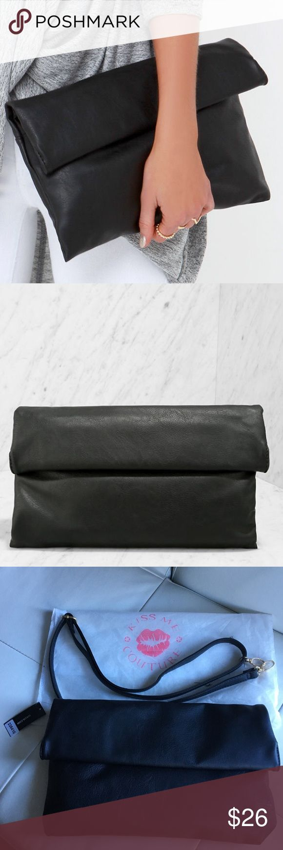 """Lulu's Roller Coast to Coast Black Clutch Purse Soft and lightly crackled vegan leather forms a chic rectangular clutch that rolls up and secures with hidden magnetic closures. Unroll to find a front flap pocket, and main compartment (with hidden magnet closures) with additional zip pocket. Carry as a clutch, or attach the shoulder strap measuring 53"""" at longest adjustment. Lined. Clutch measures 13"""" wide, 8"""" tall (when top is rolled), and 1.5"""" deep (relaxed). All vegan friendly, man made…"""