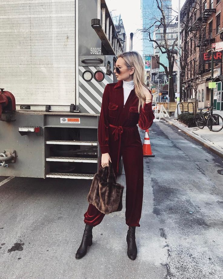@weworewhat in the Lappo Jumpsuit with the Deneuve Bag