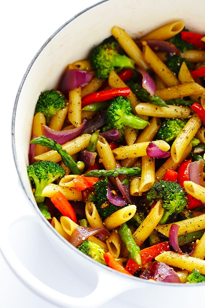 This Balsamic Veggie Pasta recipe is quick and easy to make, loaded with fresh veggies, and tossed with a delicious balsamic vinaigrette and Parmesan.