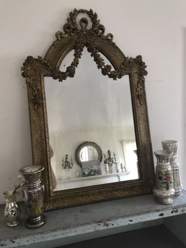 Amazing-Antique-Mirror-Swags-Of-Barbola-Roses-Old-French-Chic-Nice-Patina