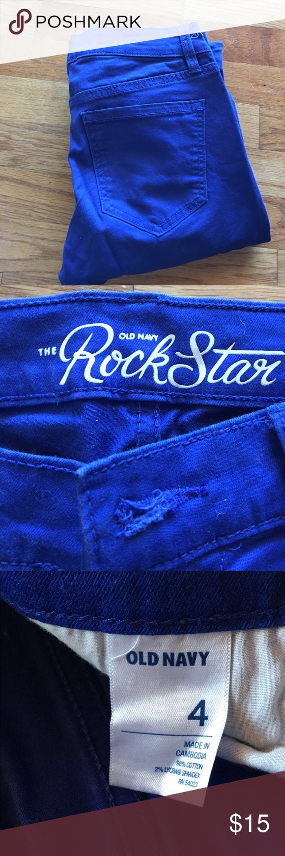 Old Navy Rockstar royal blue jeans Old Navy Rockstar jeans. Royal blue color, size 4. No damage. Clean, smoke free home. Always willing to negotiate prices! Old Navy Jeans