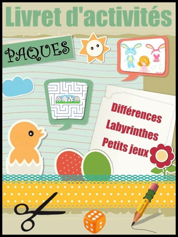 Livret d'activités de Pâques : labyrinthes, différences, poupée de papier, tangram, petits jeux de société, coloriages.