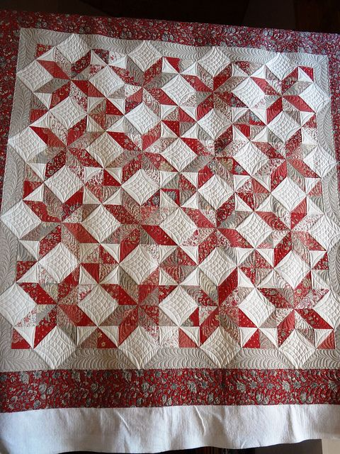 9 Patch Star by Edna807, via Flickr  French general fabrics and great quilting!