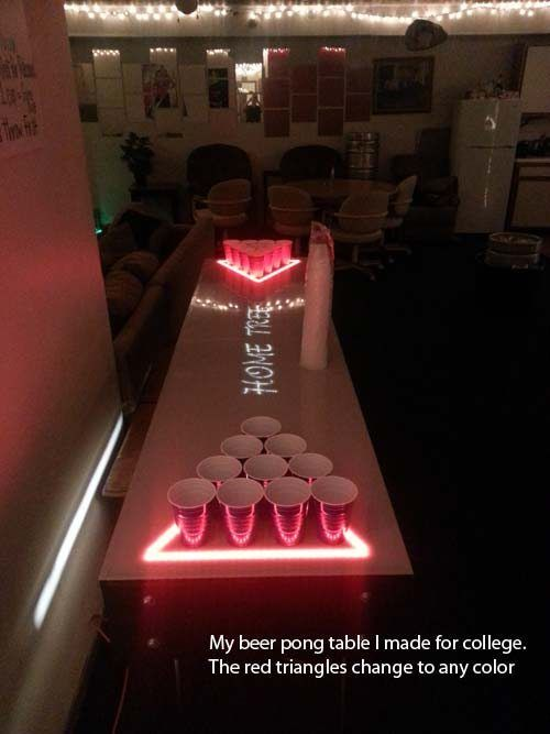 Beer Pong Table with Color Change LEDs! Wish this dude would've supplied us with tutorial. Time to use your imagination, DIYers, make it happen...