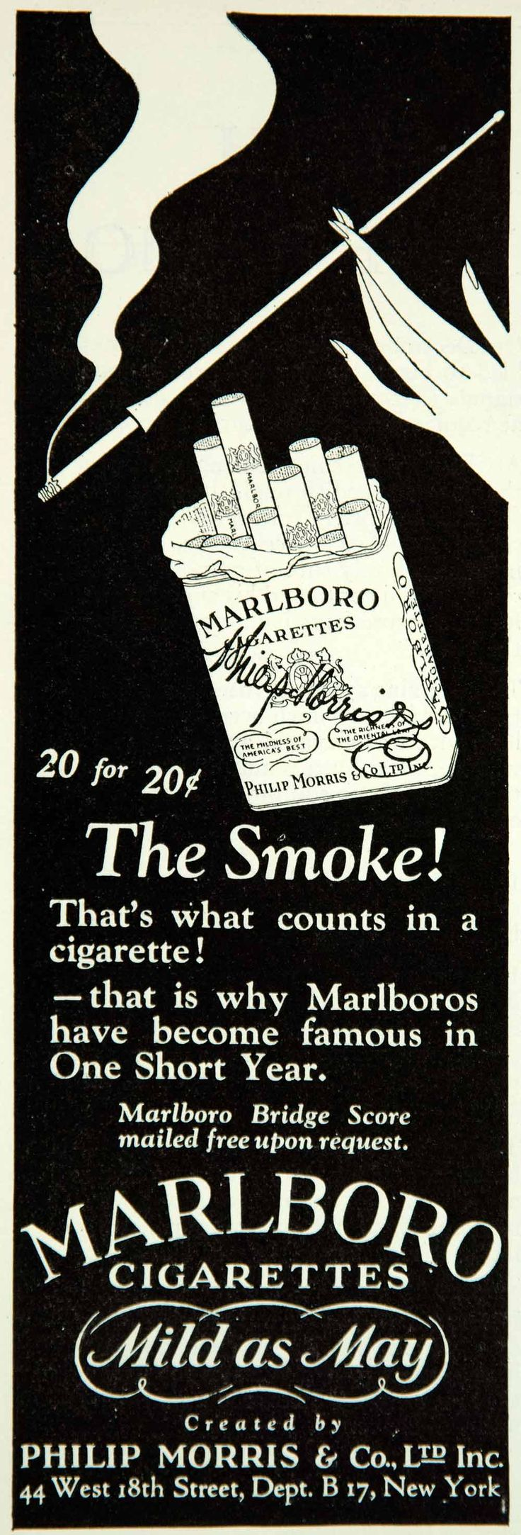 1927 Ad Marlboro Cigarette Philip Morris Smoke Tobacco Woman Pack Holder Fashion