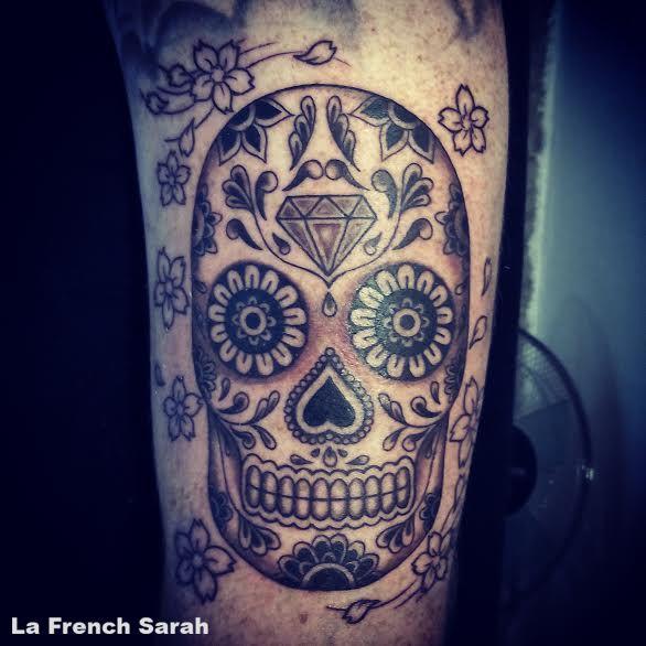 sugar skull tattoo tatouage crane mexicain la french sarah lafrenchsarah tatoo pinterest. Black Bedroom Furniture Sets. Home Design Ideas