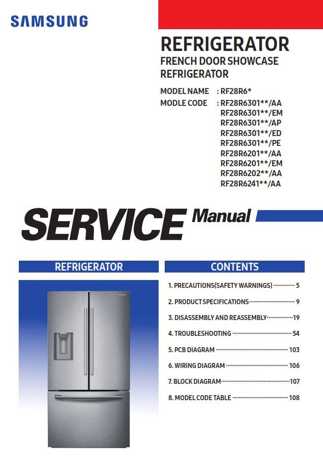 Samsung Rf28r6301sr Rf28r6201sr Rf28r6202 Rf28r6241 Refrigerator Service Manual Refrigerator Service Samsung Samsung Refridgerator