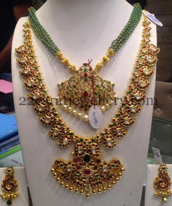 Jewellery Designs: Green Beads Set and Mango Necklace