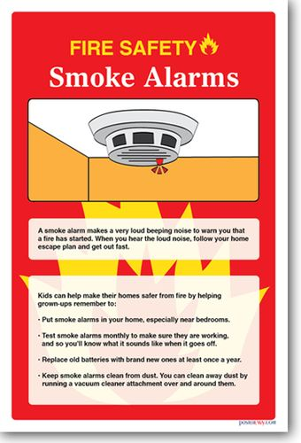 NEW Safety Cautionary POSTER Fire Safety - Smoke Alarm teacher student learning visual aid guidelines instructions rules batteries test caution
