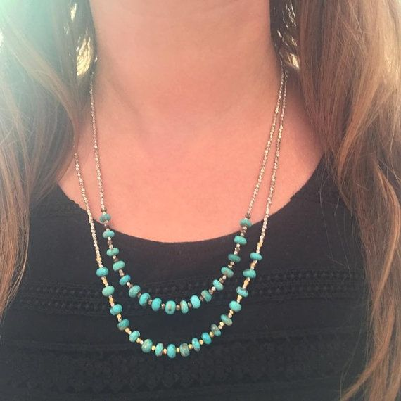 These turquoise layering necklaces always add the perfect pop of color, and boho chic style to my favorite blank tank.