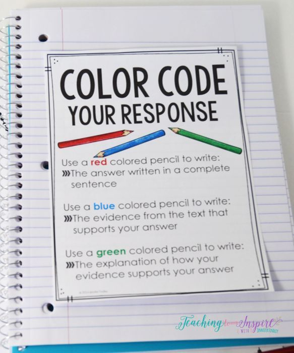 FREE printable to teach students to color code their constructed response reading answers.