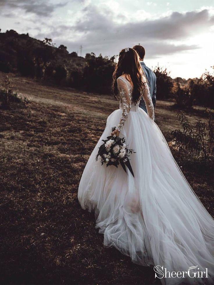 See Through Long Sleeve Boho Wedding Dresses Lace Applique Bridal Dress AWD1327