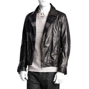 Woolen Collar Leather Biker JacketCowhide Leather Woolen Lining To Keep You Warm Four