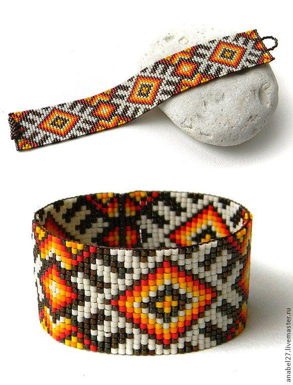 Купить Яркий бисерный браслет в этническом стиле - мужской браслет, женский браслет, бисер браслет